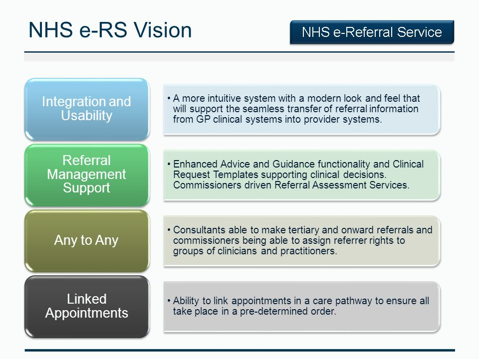 NHS e-RS Vision A more intuitive system with a modern look and feel that will support the seamless transfer of referral information from GP clinical systems into provider systems.