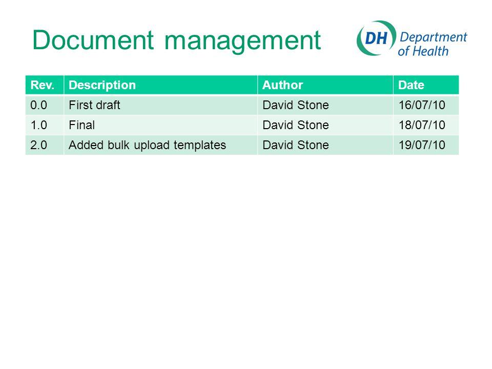 Rev.DescriptionAuthorDate 0.0First draftDavid Stone16/07/10 1.0FinalDavid Stone18/07/10 2.0Added bulk upload templatesDavid Stone19/07/10 Document man