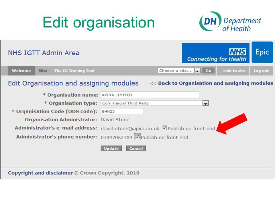 Edit organisation