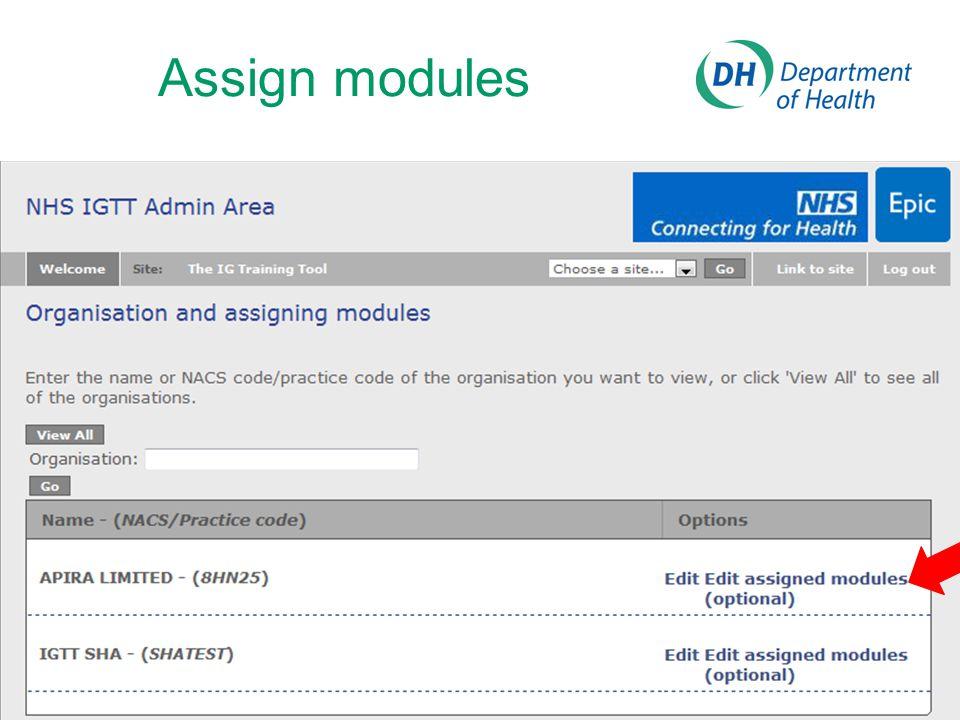 Assign modules