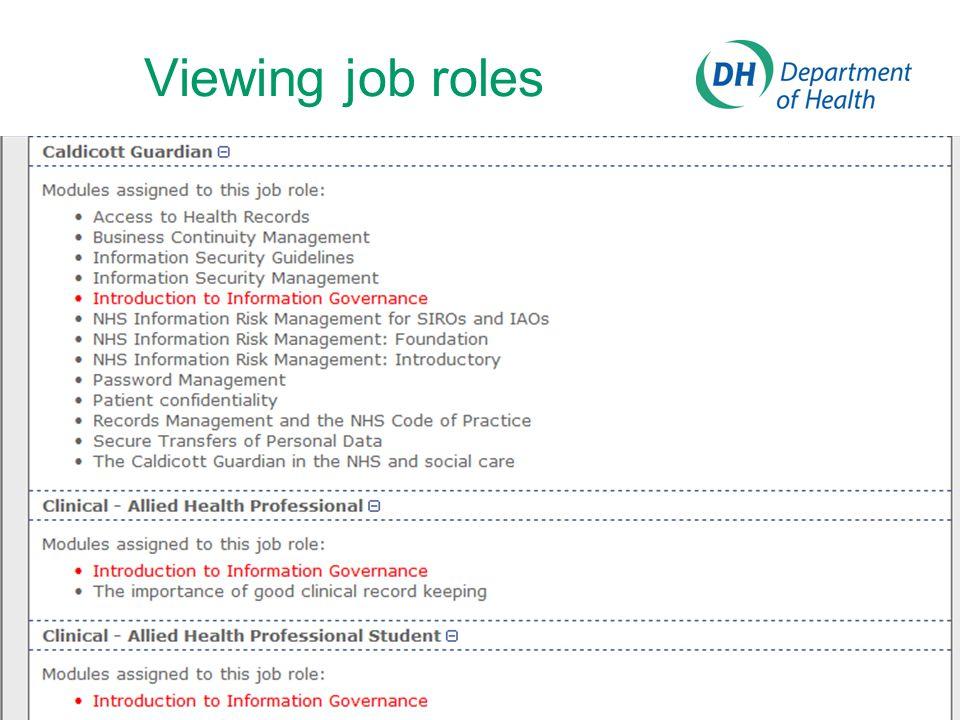 Viewing job roles
