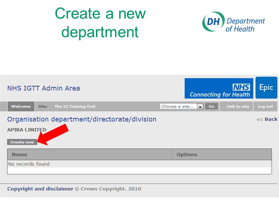Create a new department