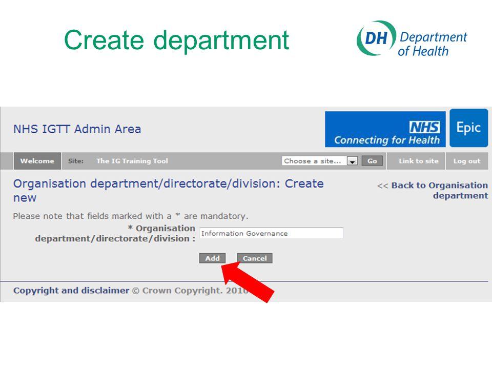 Create department