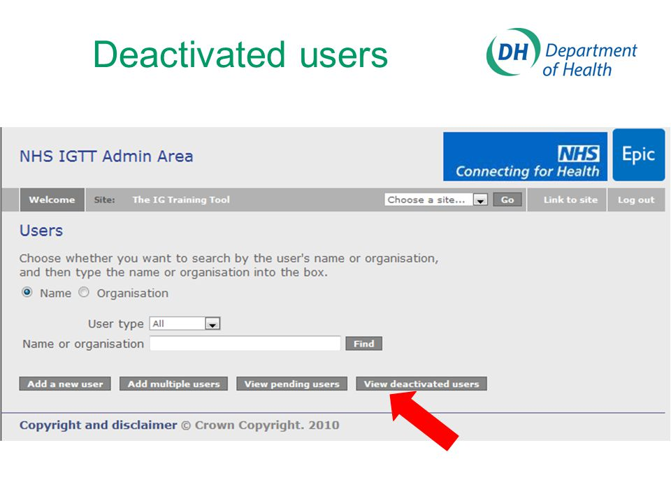 Deactivated users