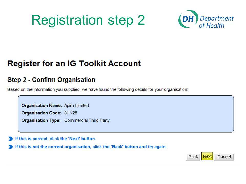 Registration step 2