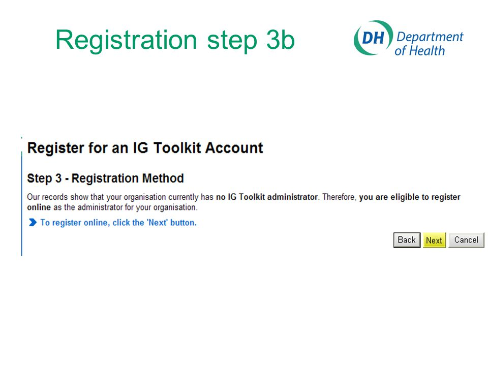 Registration step 3b