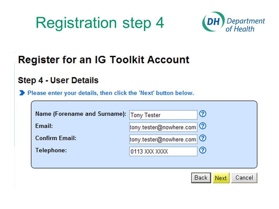 Registration step 4