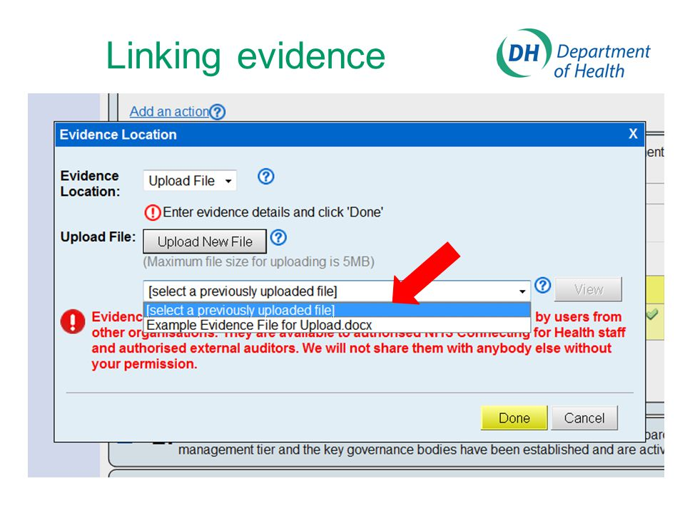 Linking evidence