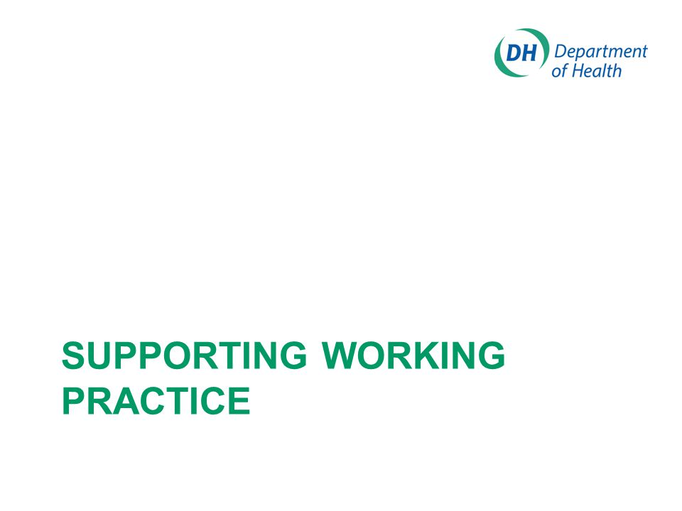 SUPPORTING WORKING PRACTICE