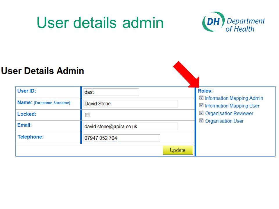 User details admin