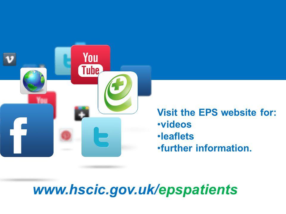 www.hscic.gov.uk/epspatients Visit the EPS website for: videos leaflets further information.