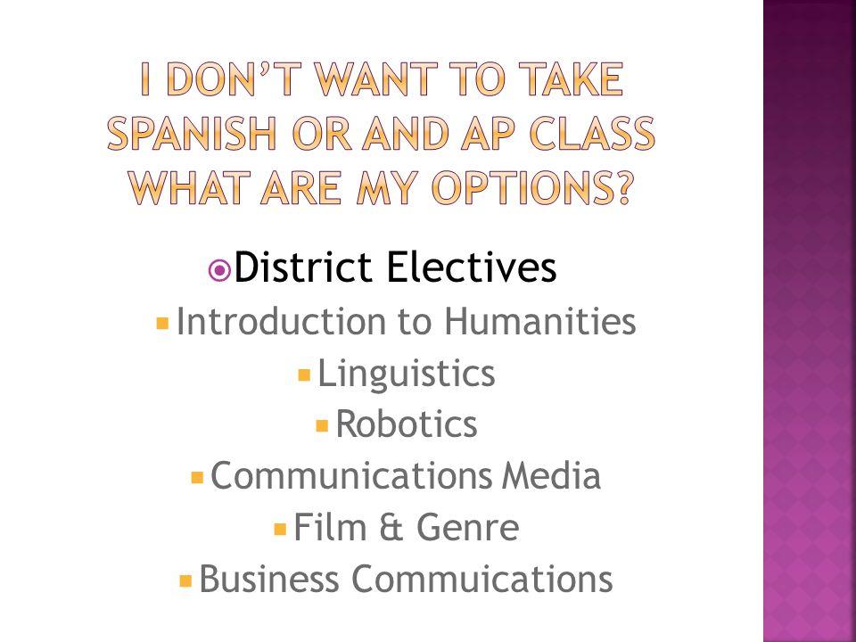  District Electives  Introduction to Humanities  Linguistics  Robotics  Communications Media  Film & Genre  Business Commuications