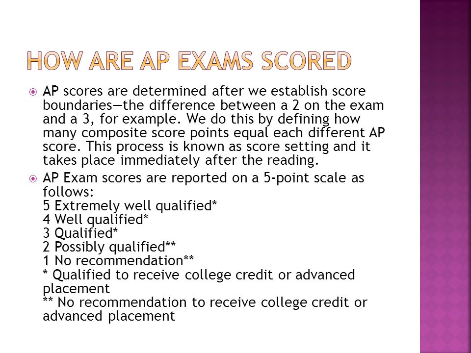  AP scores are determined after we establish score boundaries—the difference between a 2 on the exam and a 3, for example.