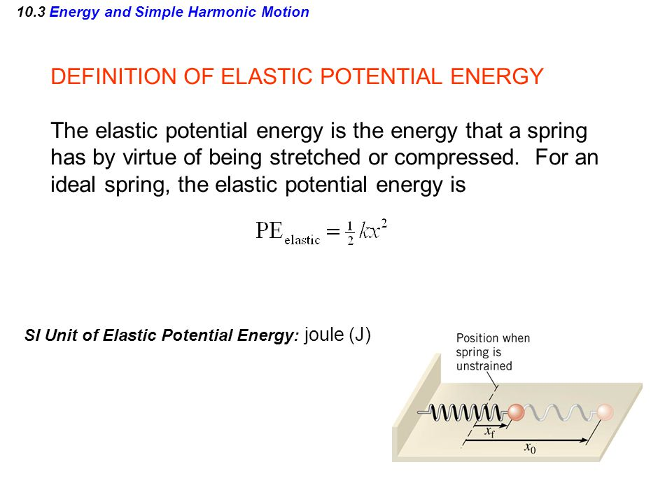 DEFINITION OF ELASTIC POTENTIAL ENERGY The elastic potential energy is the energy that a spring has by virtue of being stretched or compressed. For an
