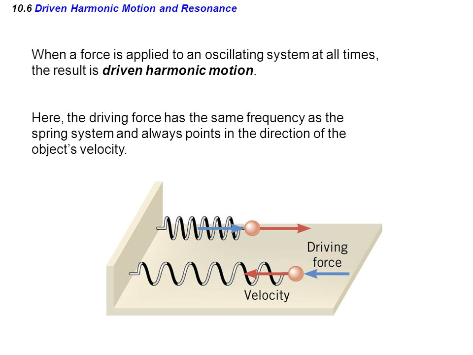 10.6 Driven Harmonic Motion and Resonance When a force is applied to an oscillating system at all times, the result is driven harmonic motion. Here, t