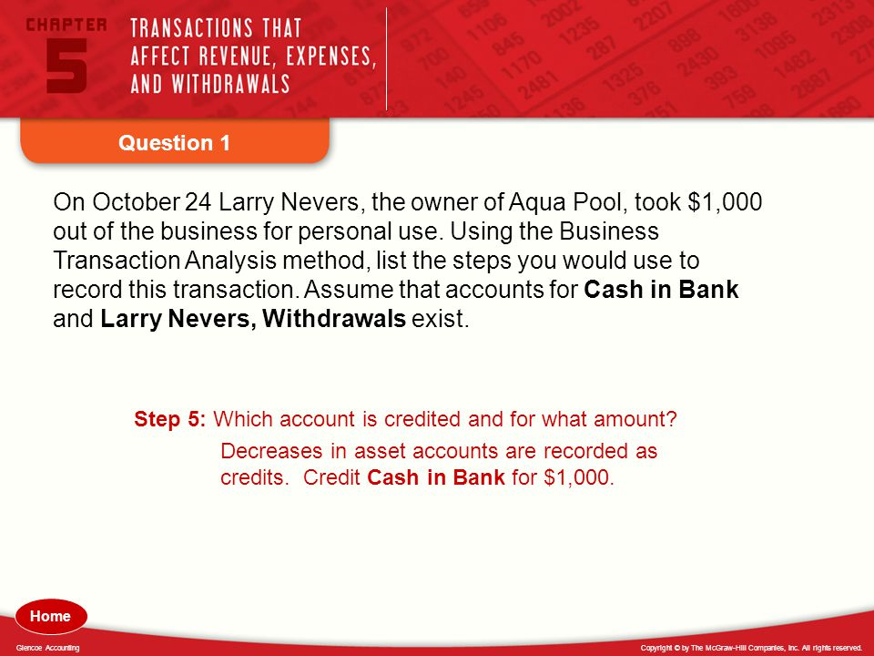 Copyright © by The McGraw-Hill Companies, Inc. All rights reserved.Glencoe Accounting Question 1 On October 24 Larry Nevers, the owner of Aqua Pool, t
