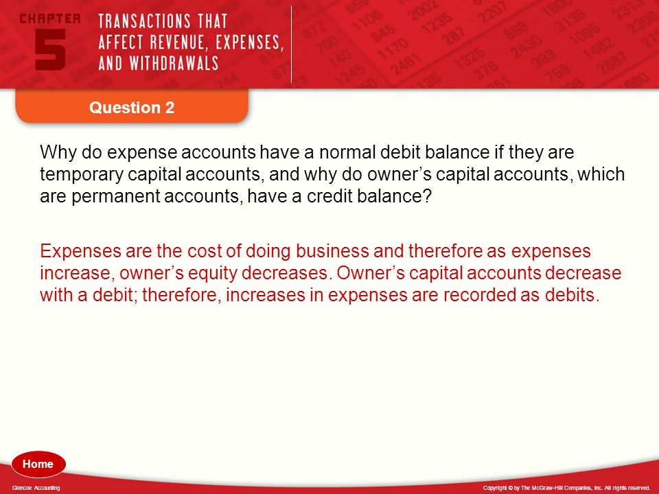 Copyright © by The McGraw-Hill Companies, Inc. All rights reserved.Glencoe Accounting Question 2 Why do expense accounts have a normal debit balance i