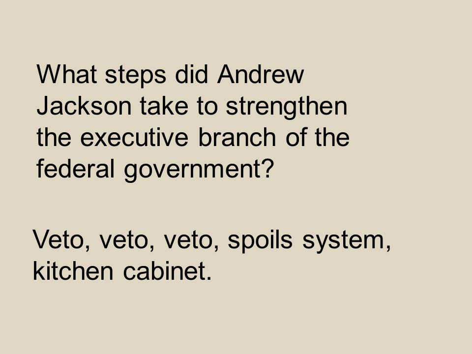 What steps did Andrew Jackson take to strengthen the executive branch of the federal government? Veto, veto, veto, spoils system, kitchen cabinet.