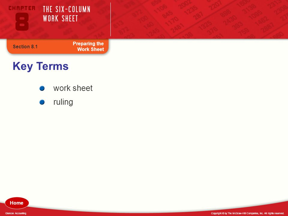 Copyright © by The McGraw-Hill Companies, Inc. All rights reserved.Glencoe Accounting Key Terms work sheet ruling Preparing the Work Sheet Section 8.1