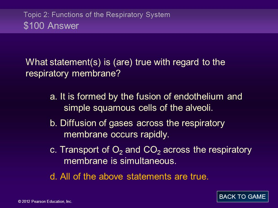 © 2012 Pearson Education, Inc. What statement(s) is (are) true with regard to the respiratory membrane? a. It is formed by the fusion of endothelium a
