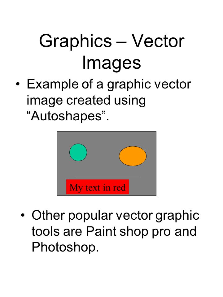 "Graphics – Vector Images Example of a graphic vector image created using ""Autoshapes"". My text in red Other popular vector graphic tools are Paint sho"