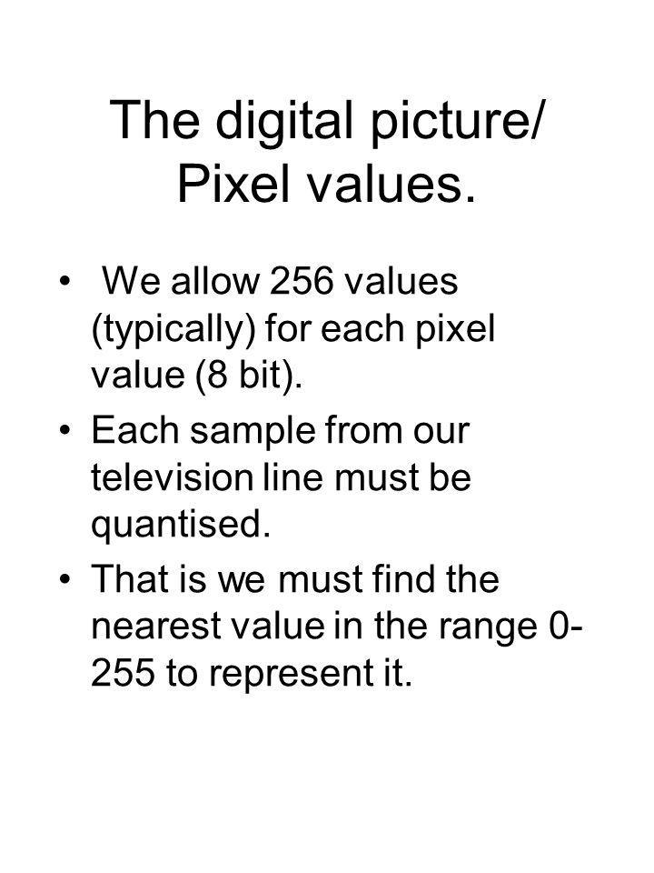 The digital picture/ Pixel values. We allow 256 values (typically) for each pixel value (8 bit).