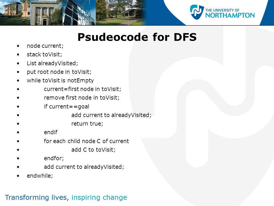 Psudeocode for DFS node current; stack toVisit; List alreadyVisited; put root node in toVisit; while toVisit is notEmpty current=first node in toVisit; remove first node in toVisit; if current==goal add current to alreadyVisited; return true; endif for each child node C of current add C to toVisit; endfor; add current to alreadyVisited; endwhile;