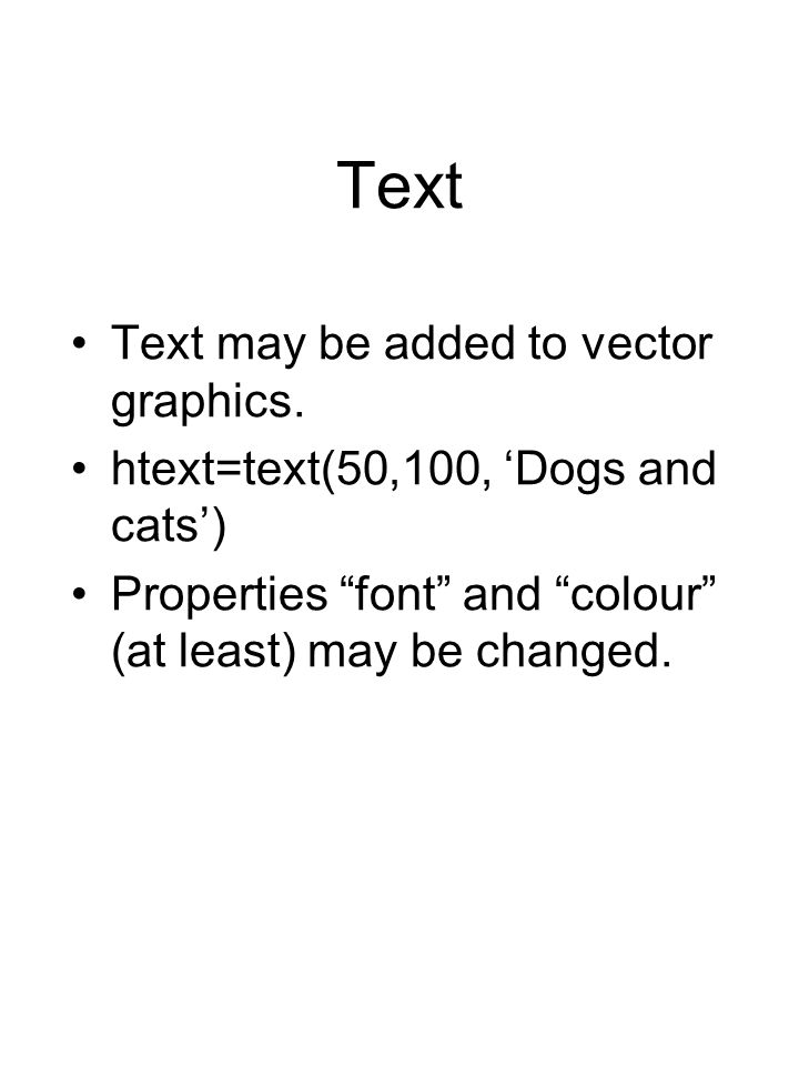 Text Text may be added to vector graphics.