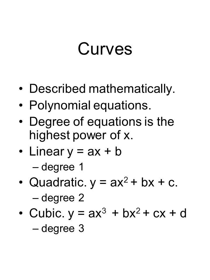 Curves Described mathematically. Polynomial equations.