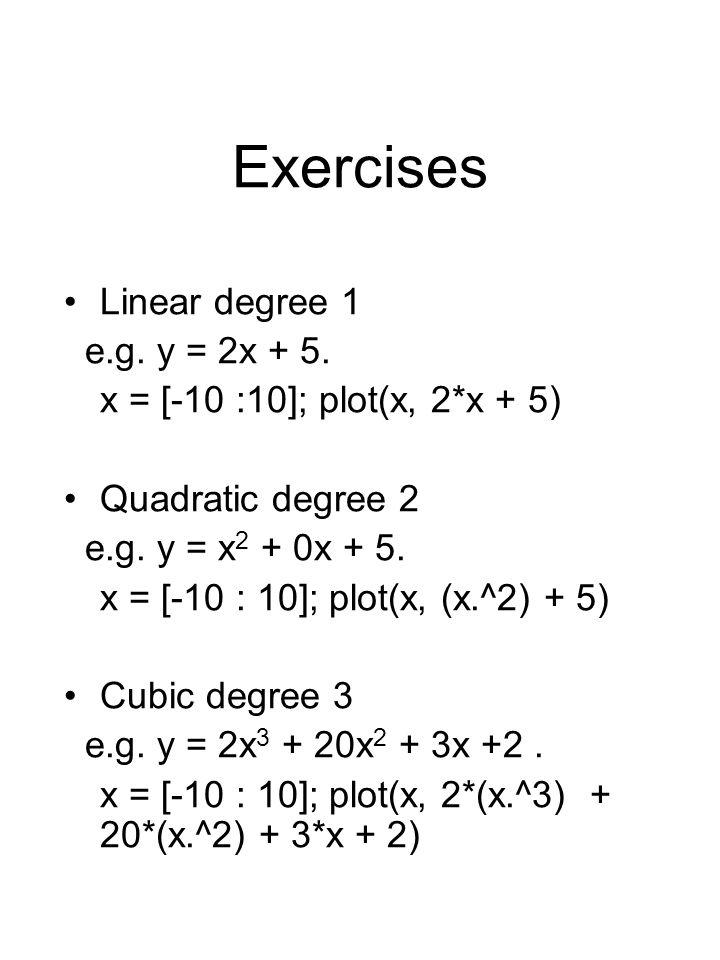 Exercises Linear degree 1 e.g. y = 2x + 5. x = [-10 :10]; plot(x, 2*x + 5) Quadratic degree 2 e.g.