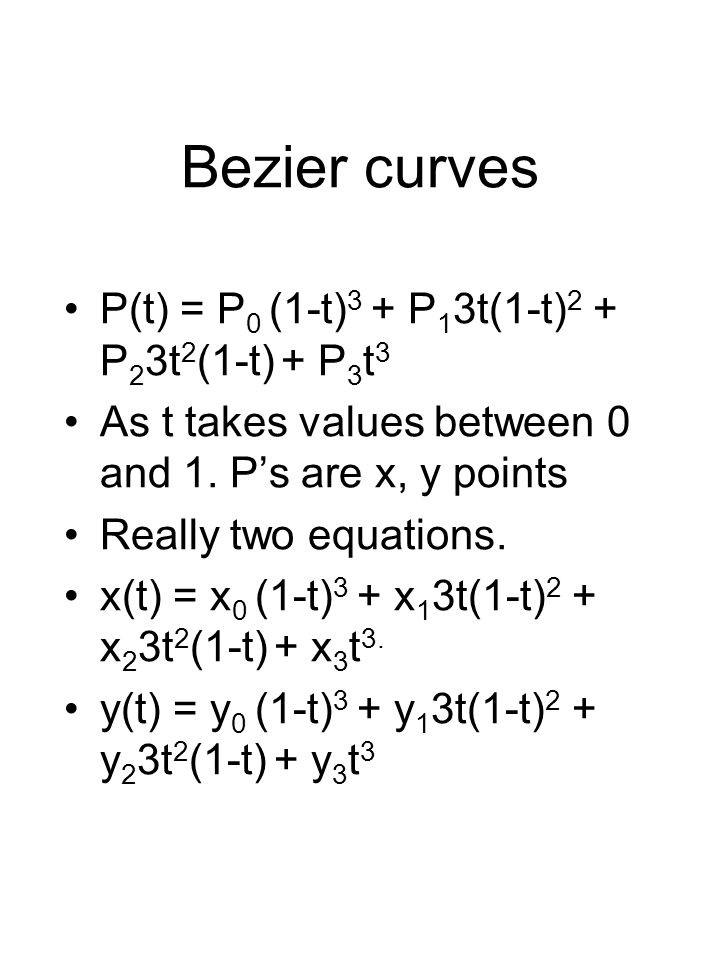 Bezier curves P(t) = P 0 (1-t) 3 + P 1 3t(1-t) 2 + P 2 3t 2 (1-t) + P 3 t 3 As t takes values between 0 and 1.