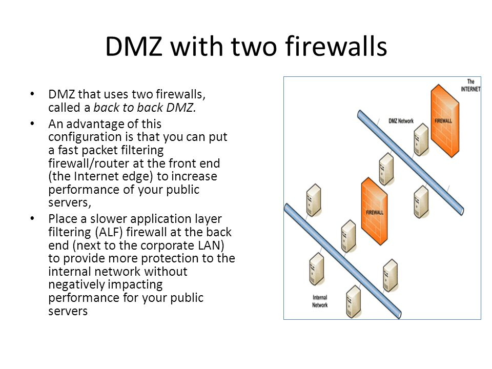 DMZ with two firewalls DMZ that uses two firewalls, called a back to back DMZ. An advantage of this configuration is that you can put a fast packet fi