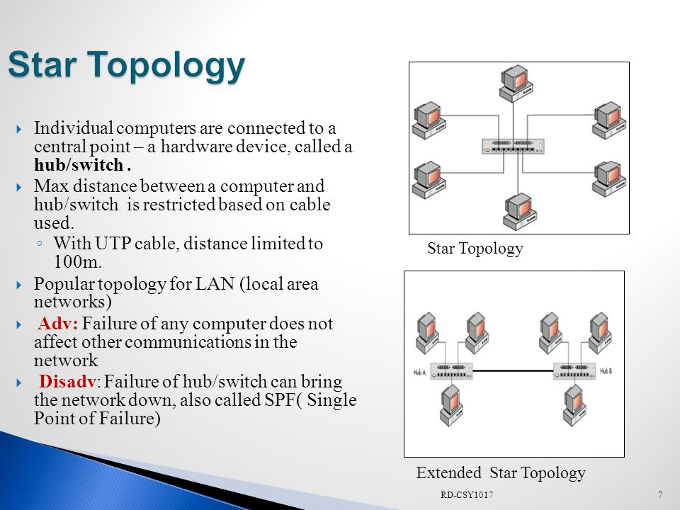  Also called a hierarchical or star of stars topology  Nodes are connected in groups of star-configured workstations that branch out from a single root,  The root node usually controls the network and sometimes network traffic flow.