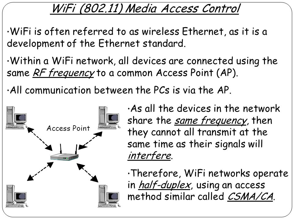 WiFi (802.11) Media Access Control WiFi is often referred to as wireless Ethernet, as it is a development of the Ethernet standard. Within a WiFi netw
