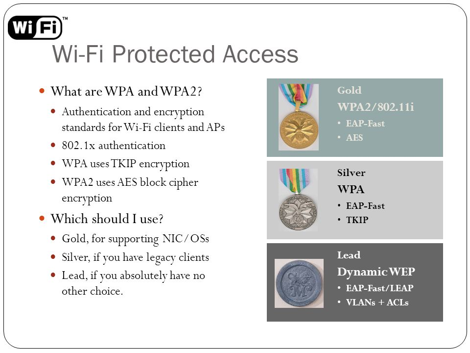 Wi-Fi Protected Access What are WPA and WPA2? Authentication and encryption standards for Wi-Fi clients and APs 802.1x authentication WPA uses TKIP en