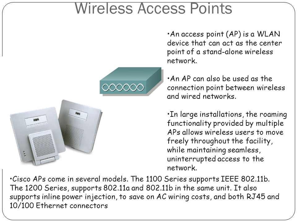 Wireless Access Points An access point (AP) is a WLAN device that can act as the center point of a stand-alone wireless network. An AP can also be use