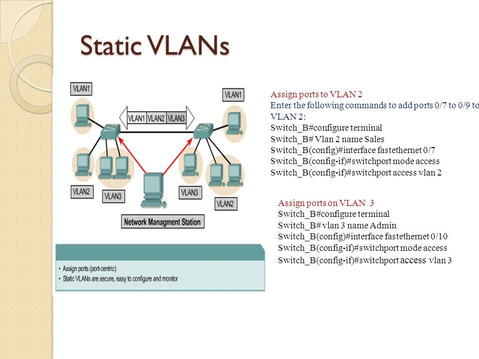 Static VLANs Assign ports to VLAN 2 Enter the following commands to add ports 0/7 to 0/9 to VLAN 2: Switch_B#configure terminal Switch_B# Vlan 2 name