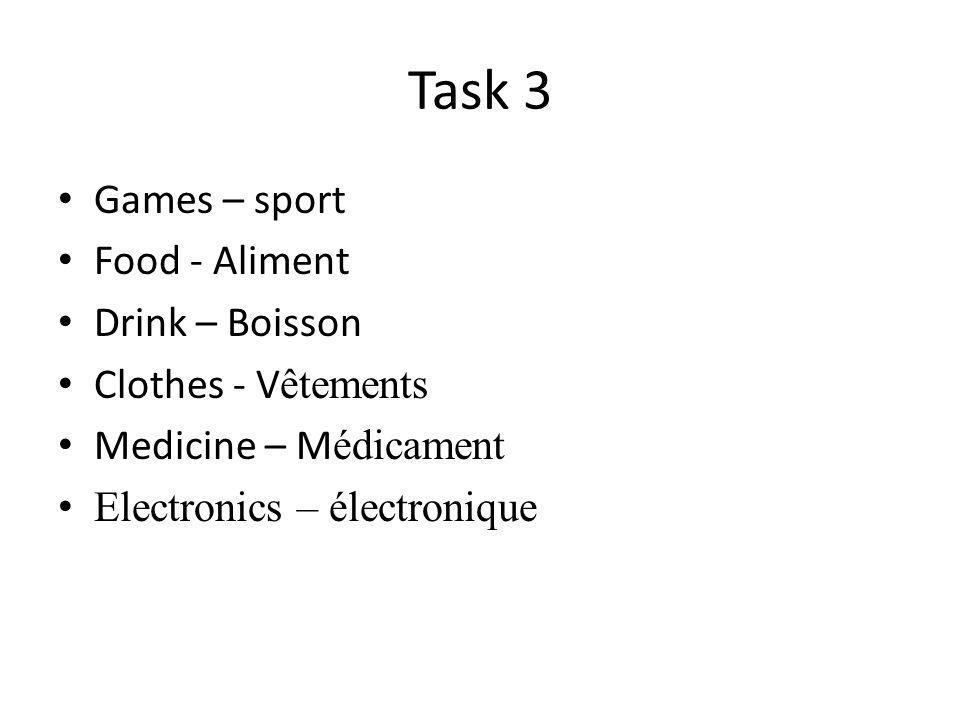 Task 3 Games – sport Food - Aliment Drink – Boisson Clothes - V êtements Medicine – M édicament Electronics – électronique