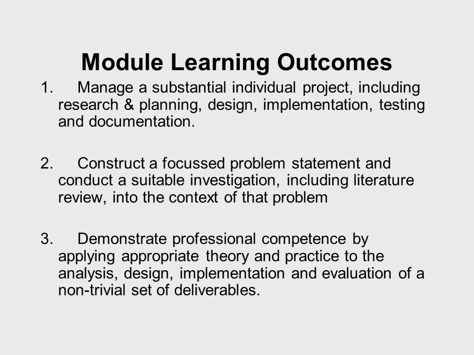 Module Learning Outcomes 1.