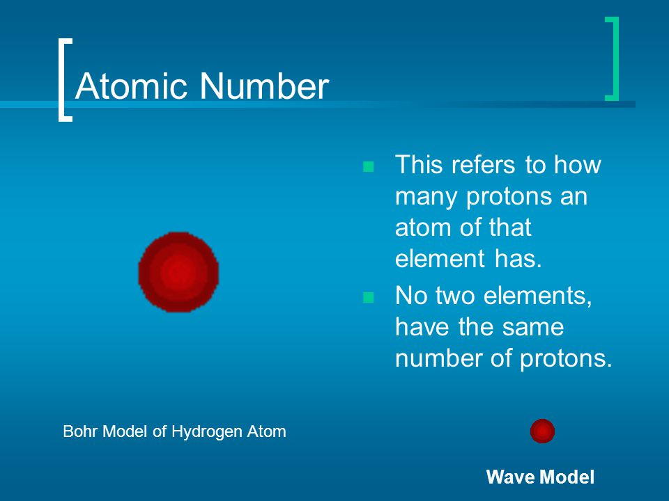 Atomic Number This refers to how many protons an atom of that element has. No two elements, have the same number of protons. Bohr Model of Hydrogen At