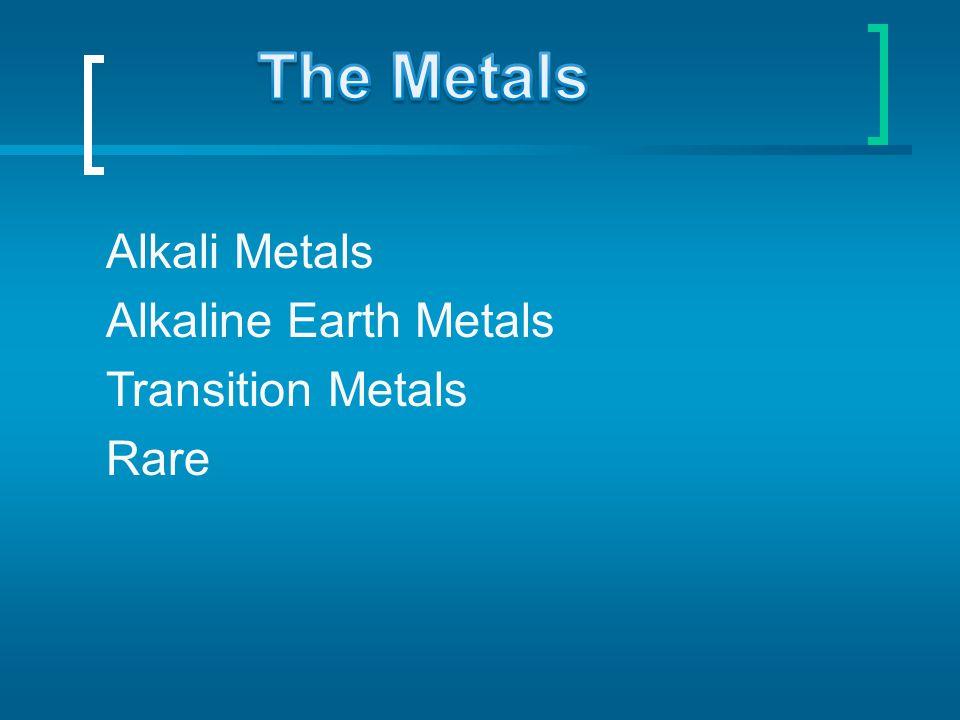 Alkali Metals Alkaline Earth Metals Transition Metals Rare