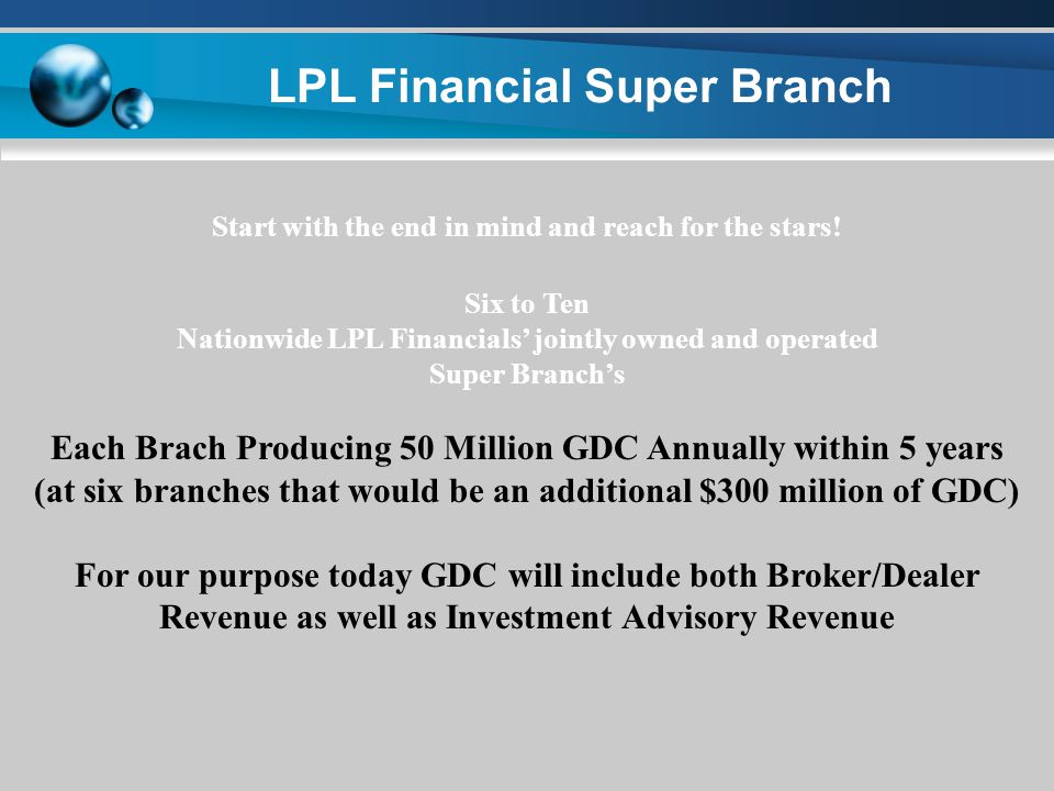 LPL Financial Super Branch BRAND LPL Financial LIKE NEVER BEFORE (BECOME Part of the Culture and Fabric of each Market AREA!) THINK OUT OF THE BOX!!!!!.