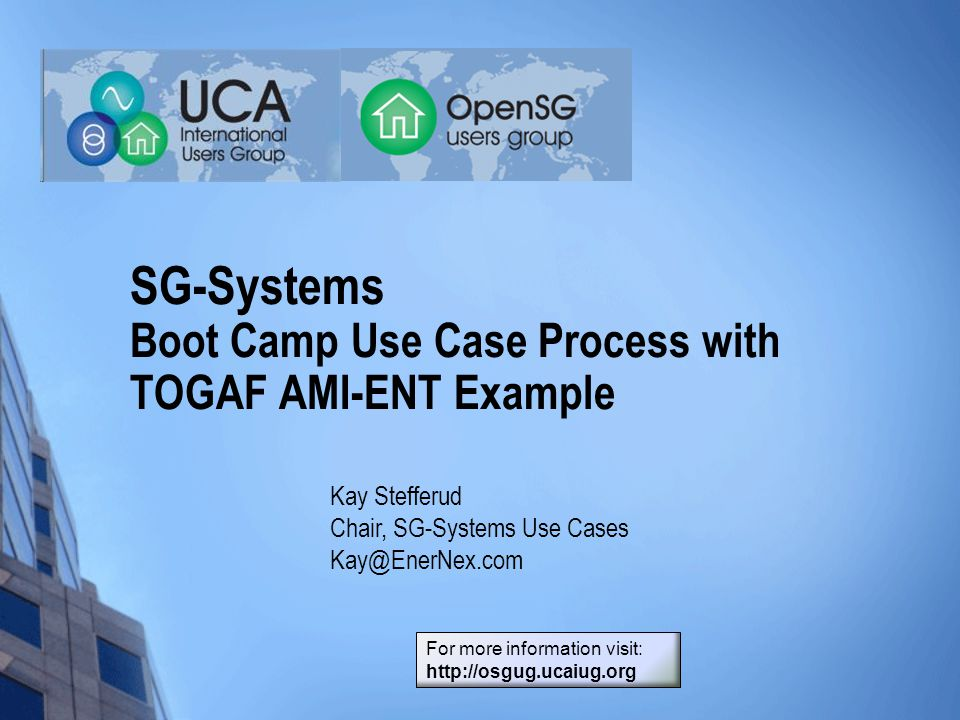SG-Systems Boot Camp Use Case Process with TOGAF AMI-ENT Example Kay Stefferud Chair, SG-Systems Use Cases Kay@EnerNex.com For more information visit: