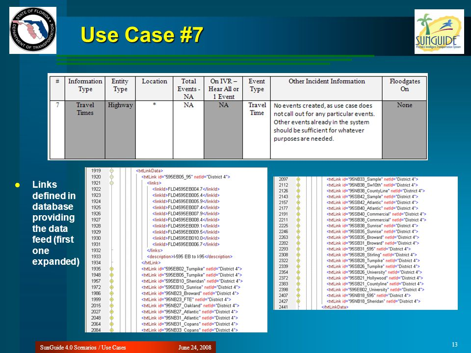 Use Case #7 June 24, 2008SunGuide 4.0 Scenarios / Use Cases 13 Links defined in database providing the data feed (first one expanded)