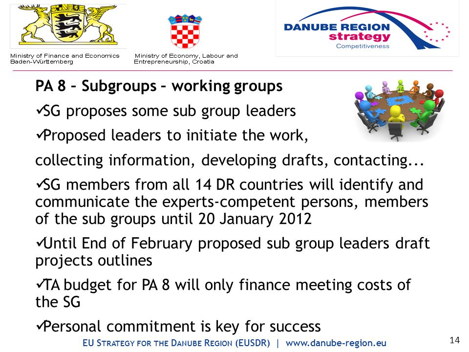 PA 8 – Subgroups – working groups SG proposes some sub group leaders Proposed leaders to initiate the work, collecting information, developing drafts, contacting...
