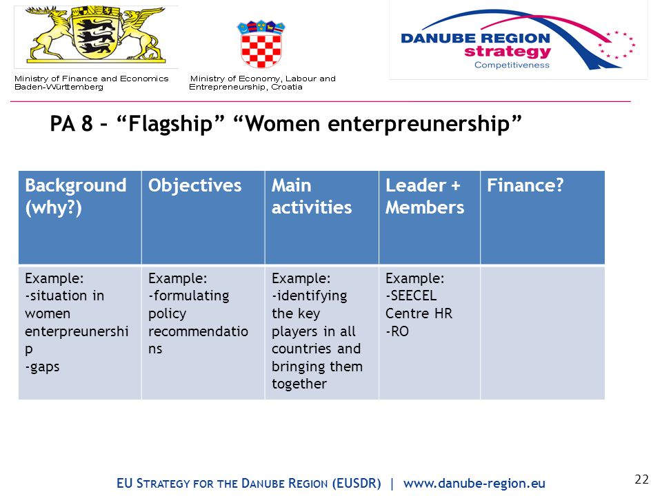 PA 8 – Flagship Women enterpreunership EU S TRATEGY FOR THE D ANUBE R EGION (EUSDR) | www.danube-region.eu Background (why ) ObjectivesMain activities Leader + Members Finance.