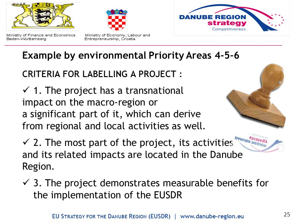 Example by environmental Priority Areas 4-5-6 CRITERIA FOR LABELLING A PROJECT : 1.