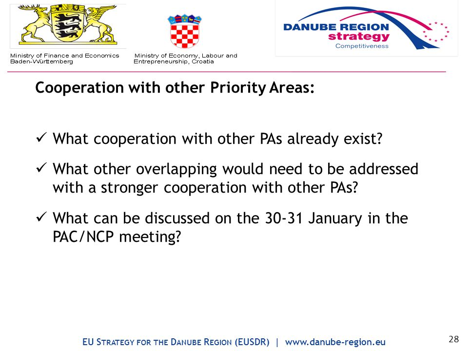 Cooperation with other Priority Areas: What cooperation with other PAs already exist.
