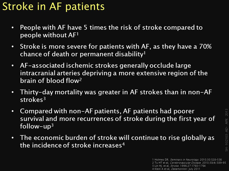 SH-102103- AD- APR 2013 91% of stroke in AF is caused by blood clots that form in the left atrial appendage (LAA) 1 1 Blackshear JL.
