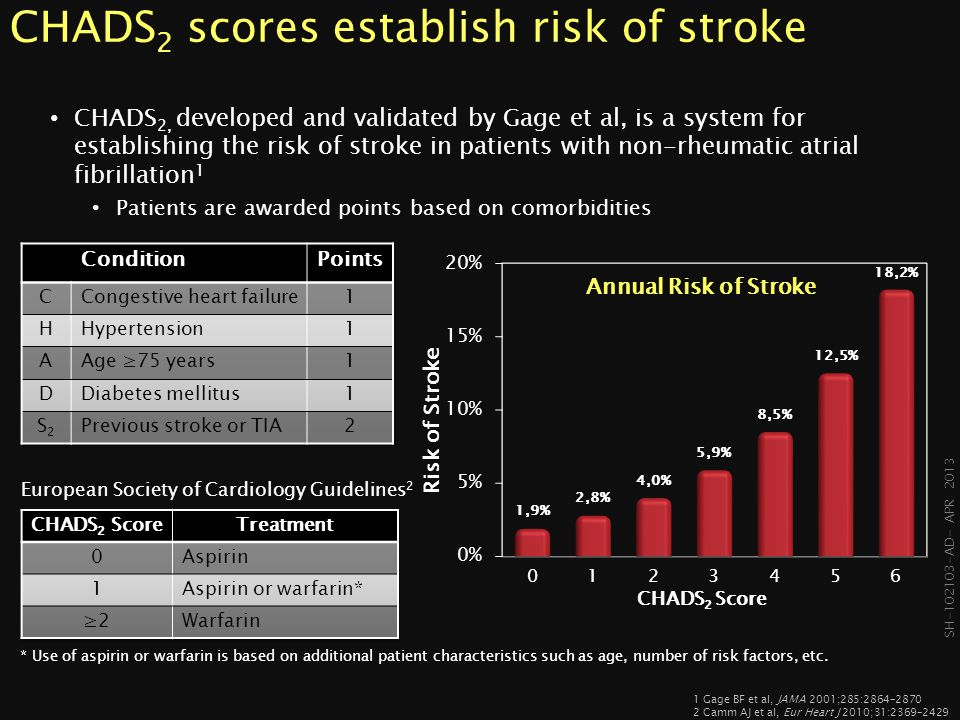 SH-102103- AD- APR 2013 European Society of Cardiology Guidelines 2 CHA 2 DS 2 VASc is a newer scoring system CHA 2 DS 2 VASc, developed by Lip et al, is a refinement of the older CHADS 2 Score which includes additional stroke risk factors and puts greater emphasis on age as a risk factor 1 1 Lip GY et al, Chest.